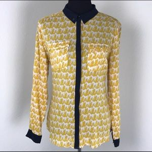 Anthropologie Maeve Novelty Horse Print Blouse Top